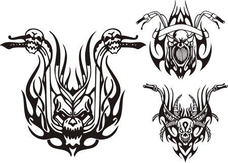 skull logo: Three wheels of a motorcycle. Tribal bikes. Vector illustration ready for vinyl cutting. Illustration