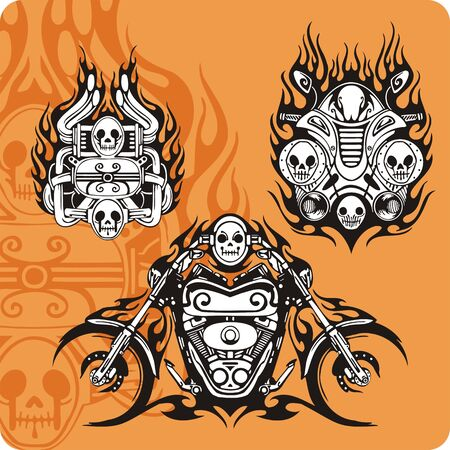 engine flame: Motorcycle compositions with use of a flame, engines, exhaust pipes and skulls. Stock Photo