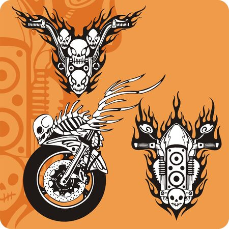 davidson: Motorcycle compositions with use of a flame, engines, exhaust pipes and skulls. Stock Photo
