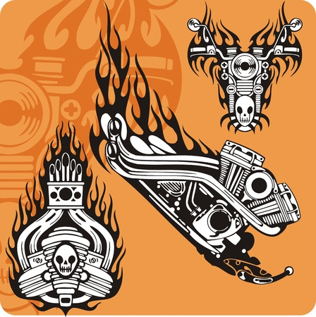 Motorcycle compositions with use of a flame, engines, exhaust pipes and skulls. Stock Photo - 8760307