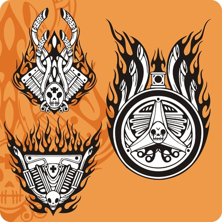 Motorcycle compositions with use of a flame, engines, exhaust pipes and skulls. Stock Photo - 8760313