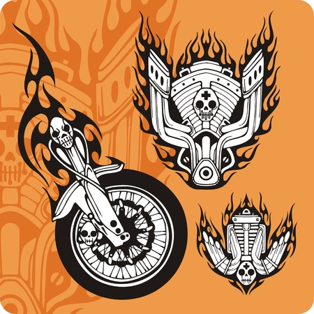 Motorcycle compositions with use of a flame, engines, exhaust pipes and skulls. Stock Photo