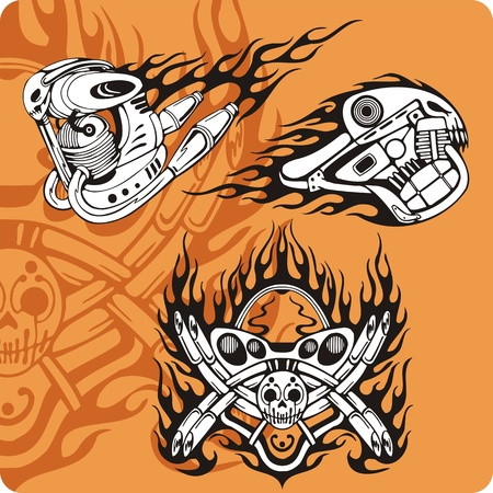 Motorcycle compositions with use of a flame, engines, exhaust pipes and skulls. photo