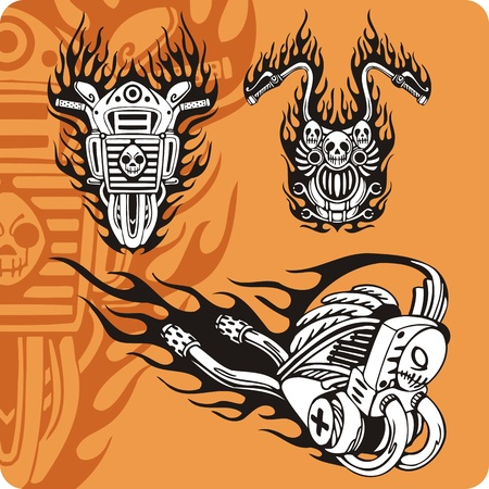 exhaust: Motorcycle compositions with use of a flame, engines, exhaust pipes and skulls. Stock Photo
