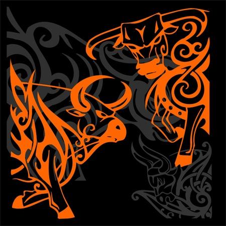 red bull: Tribal Bulls.Vector illustration ready for vinyl cutting. Stock Photo