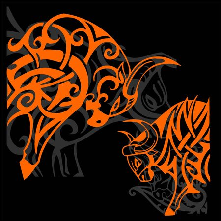 Tribal Bulls.Vector illustration ready for vinyl cutting. Reklamní fotografie
