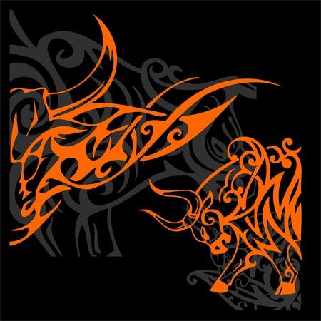 Tribal Bulls.Vector illustration ready for vinyl cutting. illustration