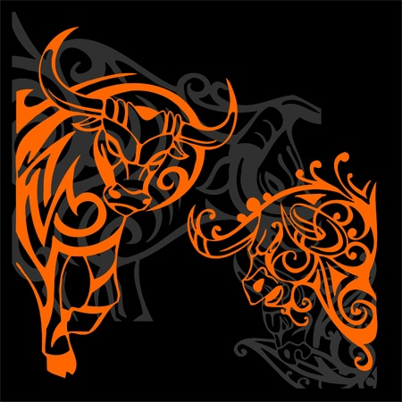 red bull: Tribal Bulls.Vector illustration ready for vinyl cutting. Stock Photo