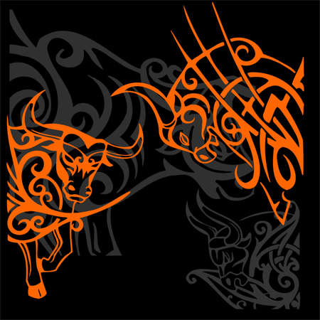 Tribal Bulls.Vector illustration ready for vinyl cutting. illustration