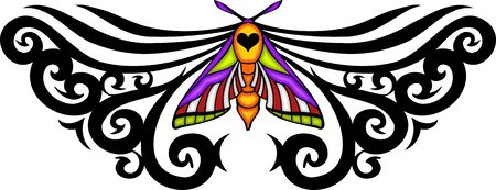 Black pattern with moth in the centre. Tribal butterfly tattoo. Vector illustration - color + bw versions. illustration