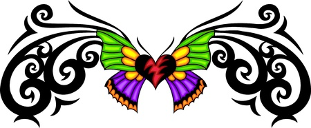 gothic heart: The butterfly with green and violet wings in the centre of a black pattern. Tribal butterfly tattoo. Vector illustration - color + bw versions. Stock Photo