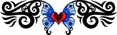 tatouage papillon: Coeur rouge avec deux ailes bleues. Tatouage tribal papillon. Vector illustration - couleur + bw versions. Banque d'images