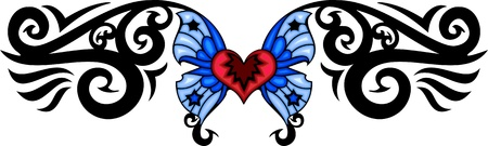 butterfly tattoo: Red heart with two blue wings. Tribal butterfly tattoo. Vector illustration - color + bw versions.