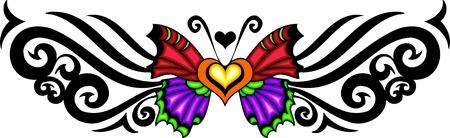 tatouage papillon: Le papillon aux ailes rouges et violets contre un patron noir. Tatouage tribal papillon.   Illustration - versions de couleur noir et blanc.