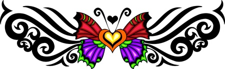 The butterfly with red and violet wings against a black pattern. Tribal butterfly tattoo.   illustration - color   bw versions. Vector