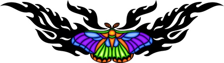 Moth with diversicolorous wings in the centre of a black pattern. Tribal butterfly tattoo. Vector illustration - color + bw versions. Vector