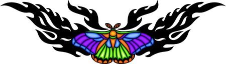 feelers: Polilla con alas de diversicolorous en el centro de un patr�n negro. Tatuaje de mariposa tribales. Ilustraci�n - color + en blanco y negro de vectores versiones.