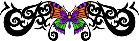 feelers: La mariposa con alas de naranjas en el centro de un patr�n negro. Tatuaje de mariposa tribales. Ilustraci�n - color + en blanco y negro de vectores versiones.