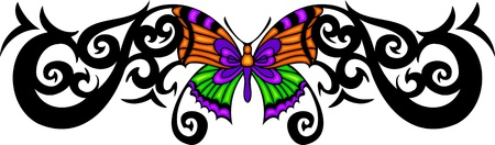 The butterfly with orange wings in the centre of a black pattern. Tribal butterfly tattoo. Vector illustration - color + b/w versions. Stock Vector - 8758863