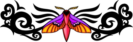 Moth with pink wings in the centre of a black pattern. Tribal butterfly tattoo. Vector illustration - color + bw versions. Vector