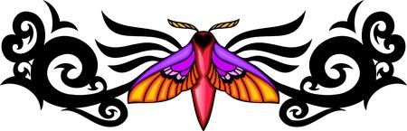 feelers: Polilla con alas rosados en el centro de un patr�n negro. Tatuaje de mariposa tribales. Ilustraci�n - color + en blanco y negro de vectores versiones.