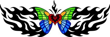 feelers: La mariposa con alas azules y verdes en el centro de un patr�n de fiery negro. Tatuaje de mariposa tribales. Ilustraci�n - color + en blanco y negro de vectores versiones.