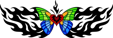 The butterfly with blue and green wings in the centre of a black fiery pattern. Tribal butterfly tattoo. Vector illustration - color + bw versions. Vector