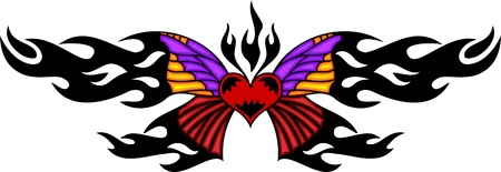 The beautiful butterfly in the centre of black fiery drawing. Tribal butterfly tattoo. Vector illustration - color + bw versions. Vector