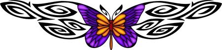 feelers: La mariposa con alas violetas en el centro de un patr�n negro. Tatuaje de mariposa tribales. Ilustraci�n - color + en blanco y negro de vectores versiones.