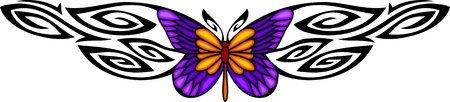 printing logo: The butterfly with violet wings in the centre of a black pattern. Tribal butterfly tattoo. Vector illustration - color + bw versions.