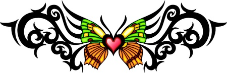 The butterfly with green and yellow wings in the centre of a black pattern. Tribal butterfly tattoo. Vector illustration - color + bw versions. Vector