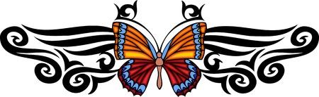 feelers: La mariposa TUPIS largo en el centro del patr�n. Tatuaje de mariposa tribales.  Ilustraci�n - versiones de color blanco y negro.