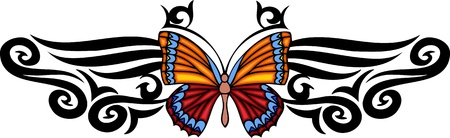 The butterfly with long feelers in the pattern centre. Tribal butterfly tattoo.  illustration - color   bw versions. Vector
