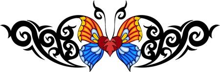 feelers: La mariposa con alas de amarillos y azules en el centro de un patr�n negro. Tatuaje de mariposa tribales. Ilustraci�n - color + en blanco y negro de vectores versiones. Vectores