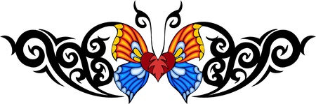 The butterfly with yellow and blue wings in the centre of a black pattern. Tribal butterfly tattoo. Vector illustration - color + bw versions. Vector