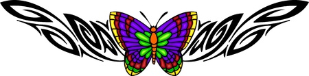 The butterfly with diversicolorous wings in the centre of a black pattern. Tribal butterfly tattoo. Vector illustration - color + bw versions. Vector