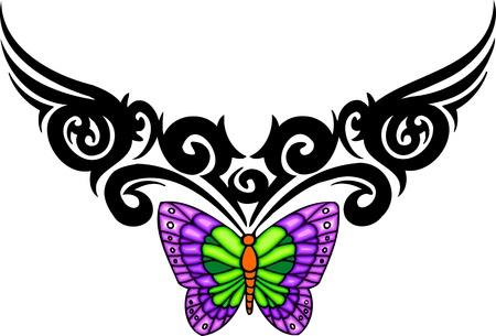 artificial wing: La farfalla con le ali viola dall'alto un modello nero. Tatuaggio tribale farfalla. Illustrazione vettoriale - colore + b  w versioni. Vettoriali