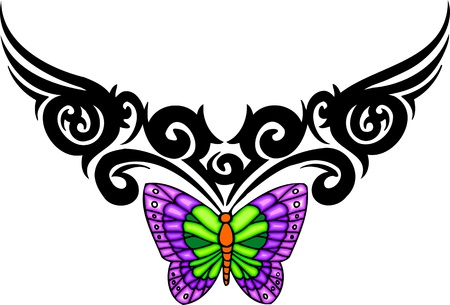 The butterfly with violet wings from above a black pattern. Tribal butterfly tattoo. Vector illustration - color + bw versions. Vector