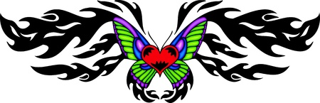 Red heart with green and violet wings in the pattern centre. Tribal butterfly tattoo. Vector illustration - color + bw versions. Vector