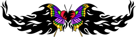 feelers: Heart with violet wings in the centre of a black pattern. Tribal butterfly tattoo. Vector illustration - color + bw versions.