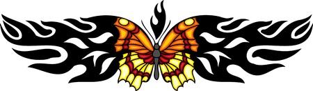 feelers: La mariposa con alas de naranjas y amarillos en el centro de un patr�n negro. Tatuaje de mariposa tribales. Ilustraci�n - color + en blanco y negro de vectores versiones.