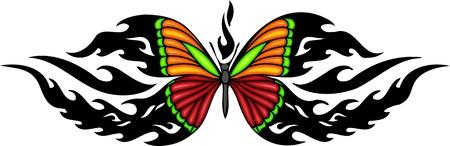 tatouage papillon: Le papillon aux ailes rouges et oranges. Tatouage tribal papillon. Vector illustration - couleur + nb des versions.