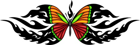 butterfly tattoo: The butterfly with red and orange wings. Tribal butterfly tattoo. Vector illustration - color + bw versions. Illustration