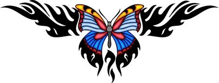 feelers: La mariposa con las alas azules en el centro de un patr�n negro. Tatuaje de mariposa tribales. Ilustraci�n - color + en blanco y negro de vectores versiones. Vectores