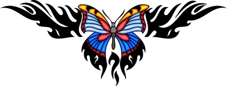vlinder tattoo: The butterfly with blue wings in the centre of a black pattern. Tribal butterfly tattoo. Vector illustration - color + bw versions.