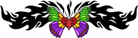 feelers: Coraz�n con alas verdes y rosas, en el centro de un patr�n negro. Tatuaje de mariposa tribales. Ilustraci�n - color + en blanco y negro de vectores versiones.