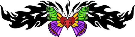 Heart with green and pink wings in the centre of a black pattern. Tribal butterfly tattoo. Vector illustration - color + bw versions. Vector