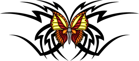 The butterfly with it is yellow orange wings in the centre of a black pattern. Tribal butterfly tattoo. Vector illustration - color + bw versions. Vector