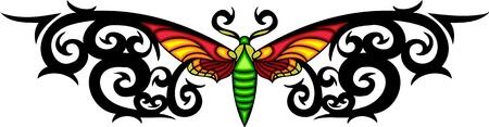 feelers: Polilla TUPIS negro rizado en el centro de un patr�n negro. Tatuaje de mariposa tribales. Ilustraci�n - color + en blanco y negro de vectores versiones. Vectores