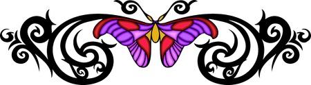 feelers: Polilla con alas rosados en el centro de dibujo negro. Tatuaje de mariposa tribales. Ilustraci�n - color + en blanco y negro de vectores versiones.